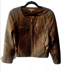 Ellen Tracy Metallic Faux Leather Quilted Jacket L